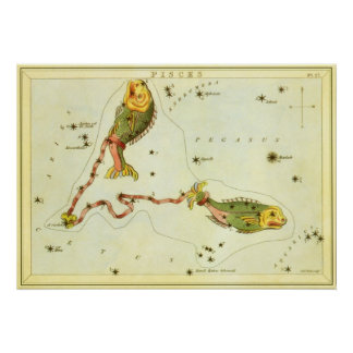 Vintage Astrology Pisces Fish Constellation Zodiac Posters