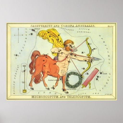 Vintage Astrology Sagittarius Constellation Zodiac Poster