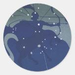 Vintage Astrology Sagittarius Constellation Zodiac Round Stickers
