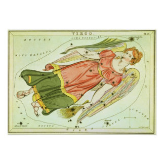 Vintage Astrology Virgo Constellation Zodiac Print