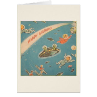 Vintage Astronauts and Martians Birthday Card