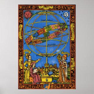 Vintage Astronomer Claudius Ptolemy, Celestial Poster