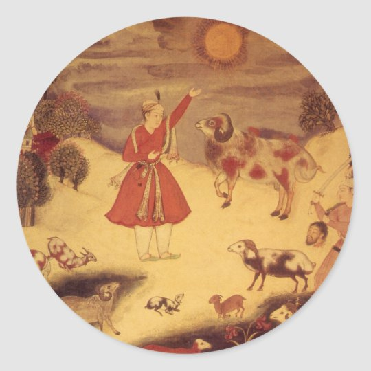 Vintage Astronomy, Antique Asian Celestial Art Classic Round Sticker