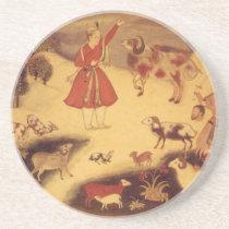 Vintage Astronomy, Antique Asian Celestial Art Drink Coaster