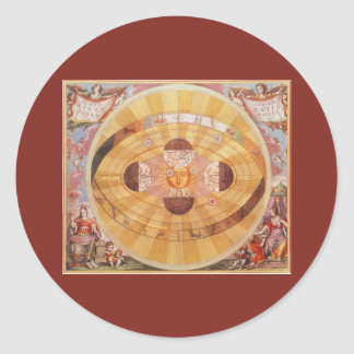 Vintage Astronomy, Antique Copernican Solar System Classic Round Sticker