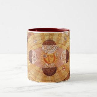 Vintage Astronomy, Antique Copernican Solar System Two-Tone Coffee Mug