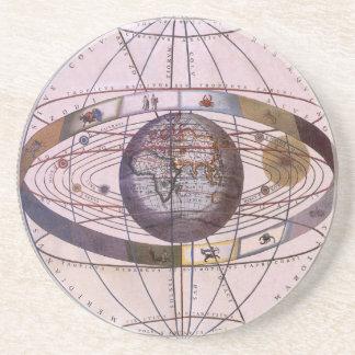 Vintage Astronomy, Antique Ptolemaic Solar System Beverage Coasters