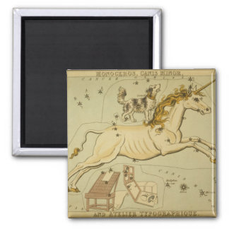 Vintage astronomy astrology Monoceros unicorn 2 Inch Square Magnet