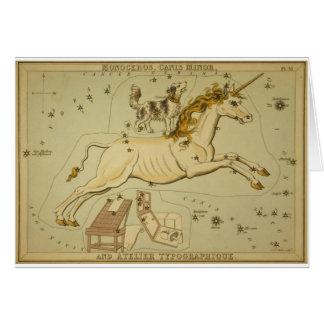 Vintage astronomy astrology Monoceros unicorn Card