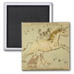 Vintage astronomy astrology Monoceros unicorn 2 Inch Square Magnet