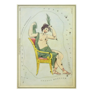 Vintage Astronomy, Cassiopeia Constellation Stars Posters