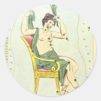 Vintage Astronomy, Cassiopeia Constellation Stars Sticker