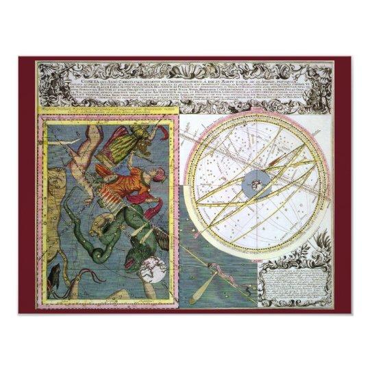Vintage Astronomy Celestial by Matthaeus Seutter Card