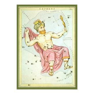Vintage Astronomy, Celestial Cepheus Constellation Card
