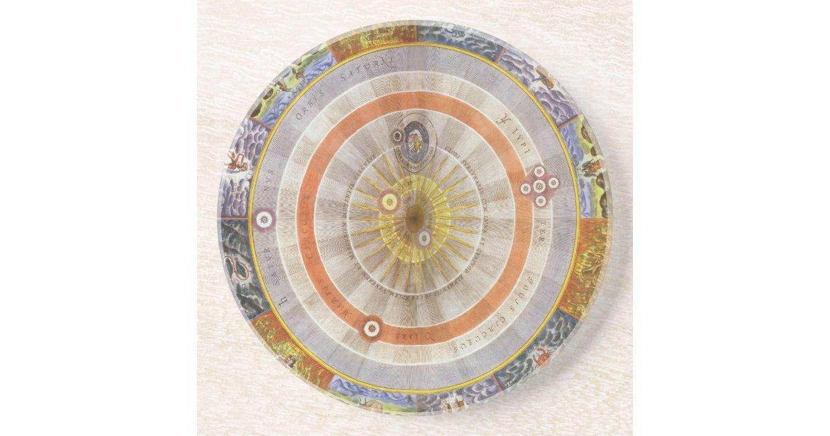 vintage astronomy celestial copernican planisphere drink coaster zazzle. Black Bedroom Furniture Sets. Home Design Ideas