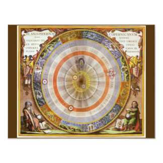 Vintage Astronomy Celestial Copernican Planisphere 4.25x5.5 Paper Invitation Card