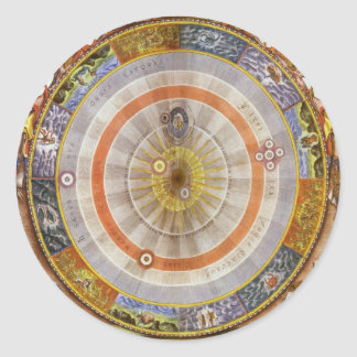 Vintage Astronomy Celestial Copernican Planisphere Classic Round Sticker