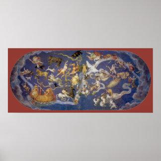Vintage Astronomy Celestial Fresco, Constellations Poster