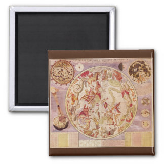 Vintage Astronomy, Celestial Map by Carel Allard 2 Inch Square Magnet