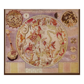 Vintage Astronomy, Celestial Map by Carel Allard Poster