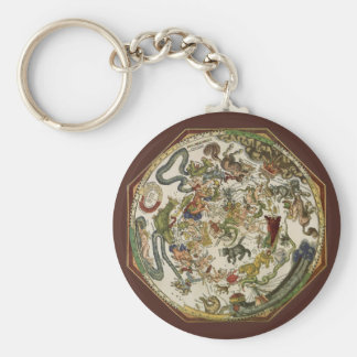 Vintage Astronomy, Celestial Map by Peter Apian Basic Round Button Keychain