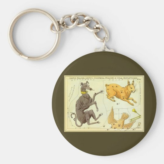 Vintage Astronomy, Celestial Map Star Chart in Sky Keychain