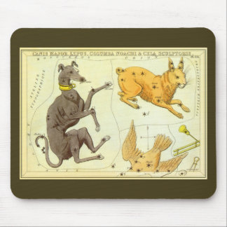 Vintage Astronomy, Celestial Map Star Chart in Sky Mouse Pad