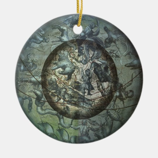Vintage Astronomy Celestial Northern Constellation Ceramic Ornament