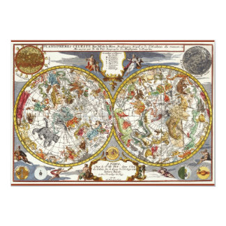 Vintage Astronomy, Celestial Planisphere Map 5x7 Paper Invitation Card