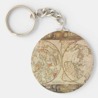 Vintage Astronomy, Celestial Planisphere Map Keychain