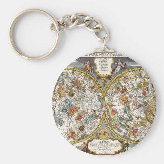 Vintage Astronomy, Celestial Planisphere Map Key Chains