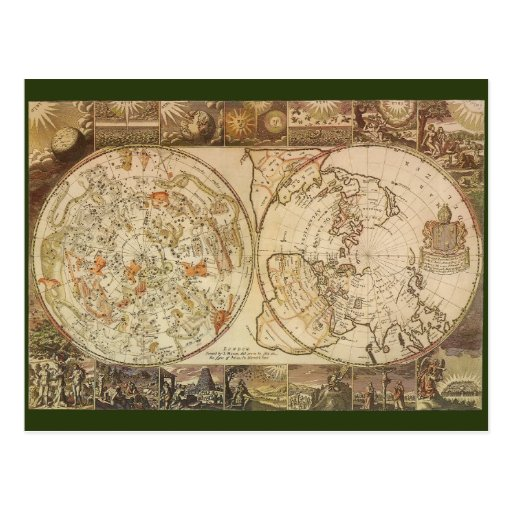 Vintage Astronomy, Celestial Planisphere Map Post Cards