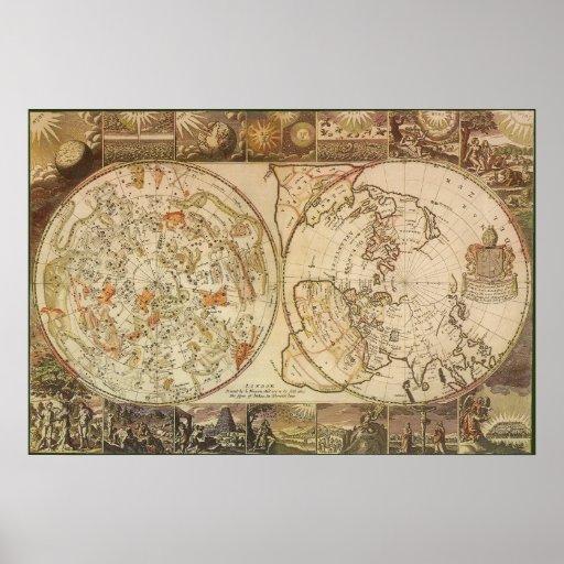 vintage astronomy celestial planisphere map poster zazzle. Black Bedroom Furniture Sets. Home Design Ideas