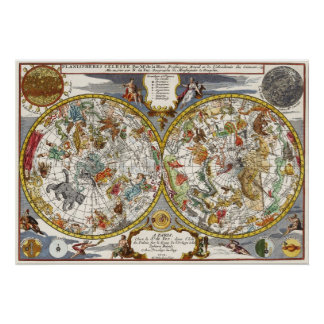 Vintage Astronomy, Celestial Planisphere Map Poster