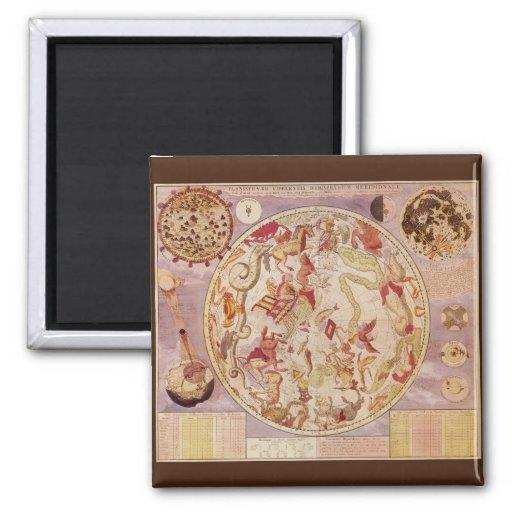 Vintage Astronomy, Celestial Planisphere Star Map Fridge Magnet