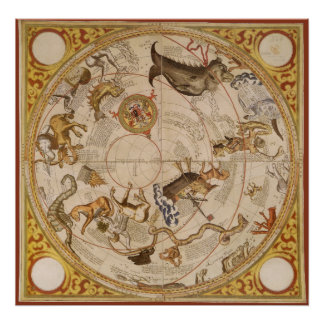 Vintage Astronomy, Celestial Planisphere Star Map Poster