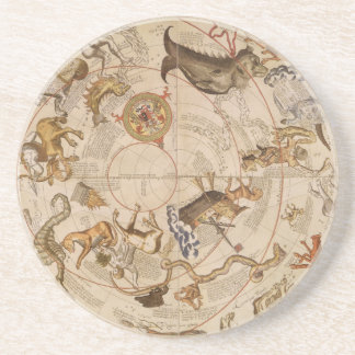 Vintage Astronomy, Celestial Planisphere Star Map Sandstone Coaster