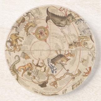 Vintage Astronomy, Celestial Planisphere Star Map Sandstone Coaster