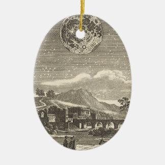 Vintage Astronomy Celestial Renaissance Moon Stars Double-Sided Oval Ceramic Christmas Ornament