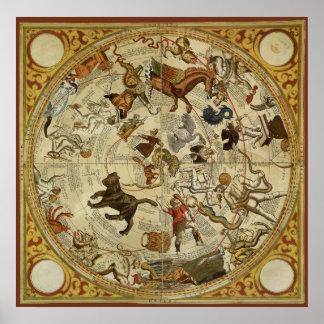 Vintage Astronomy, Celestial Sky Map Star Chart Poster