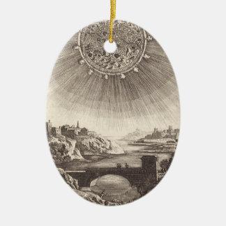Vintage Astronomy, Celestial Sky, Sun by Mallet Double-Sided Oval Ceramic Christmas Ornament