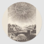 Vintage Astronomy, Celestial Sky, Sun by Mallet Classic Round Sticker