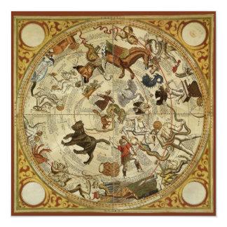 Vintage Astronomy, Celestial Star Chart, Sky Map Card