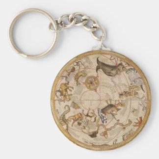 Vintage Astronomy, Celestial Star Planisphere Map Basic Round Button Keychain
