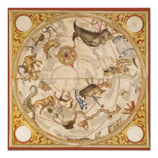Vintage Astronomy, Celestial Star Planisphere Map 5.25x5.25 Square Paper Invitation Card