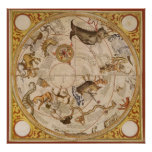 Vintage Astronomy, Celestial Star Planisphere Map Poster