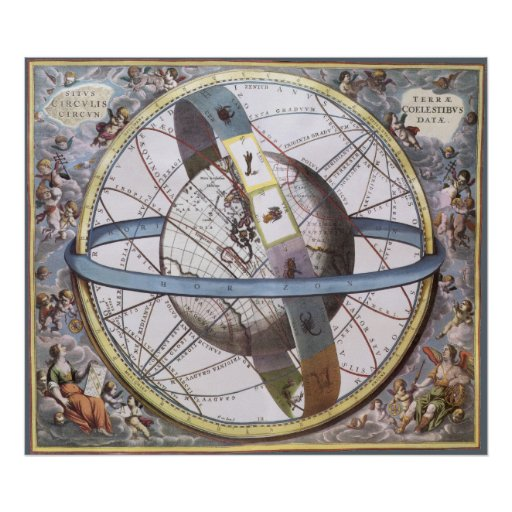 vintage astronomy celestial zodiac planisphere poster zazzle. Black Bedroom Furniture Sets. Home Design Ideas