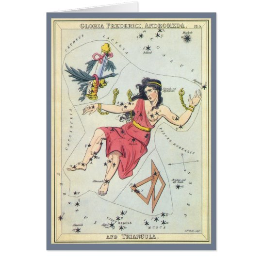 Vintage Astronomy, Constellation Stars, Andromeda Card