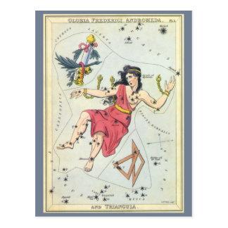 Vintage Astronomy, Constellation Stars, Andromeda Postcard