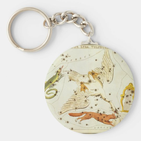 Vintage Astronomy, Constellations Stars Chart Map Keychain
